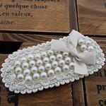 Glass Pearl, with Saten Ribbon & Cord najlon, Oval Flat, asnjë, asnjë, e bardhë, 83x39mm, 40PC/Shumë,  Shumë