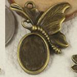 Zink Alloy varëse Setting, Alloy zink, Flutur, Ngjyra antike bronz i praruar, asnjë, asnjë, , nikel çojë \x26amp; kadmium falas, 29x23.50mm, : 2mm, : 10x14mm, 150PC/Qese,  Qese