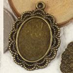 Zink Alloy varëse Setting, Alloy zink, Oval Flat, Ngjyra antike bronz i praruar, asnjë, asnjë, , nikel çojë \x26amp; kadmium falas, 30x21.50mm, : 2mm, : 13x18mm, 250PC/Qese,  Qese