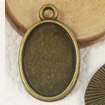 Zink Alloy varëse Setting, Alloy zink, Oval Flat, Ngjyra antike bronz i praruar, asnjë, asnjë, , nikel çojë \x26amp; kadmium falas, 24.60x15.50mm, : 2mm, : 13x18mm, 400PC/Qese,  Qese
