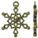 Pendants aliazh zink Krishtlindjeve, Alloy zink, Flok dëbore, Ngjyra antike bronz i praruar, asnjë, asnjë, , nikel çojë \x26amp; kadmium falas, 15x19.50x2mm, : 1.5x1mm, 1250PC/KG,  KG