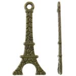 Ndërtimi Pendants Zink Alloy, Alloy zink, Kullë, Ngjyra antike bronz i praruar, asnjë, asnjë, , nikel çojë \x26amp; kadmium falas, 11x24x1mm, : 1mm, 3330PC/KG,  KG