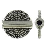 Beads bizhuteri Alloy zink, Round Flat, Ngjyra antike argjendi praruar, asnjë, asnjë, , nikel çojë \x26amp; kadmium falas, 15x4mm, : 2mm, 550PC/KG,  KG