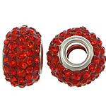 European Harz Perlen, Rondell, Platinfarbe platiniert, Messing-Dual-Core ohne troll & mit Strass, rot, 9x15mm, Bohrung:ca. 5mm, 50PCs/Menge, verkauft von Menge