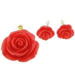 Synthetic Coral Jewelry Set, pendant & earring, with Brass, Flower, red, 28x28x18mm,14x14x10mm, Hole:Approx 3mm, Sold By Set