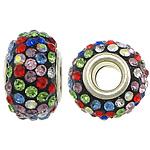 European Harz Perlen, Rondell, Platinfarbe platiniert, Messing-Dual-Core ohne troll & mit Strass, 10x15mm, Bohrung:ca. 5mm, 50PCs/Menge, verkauft von Menge