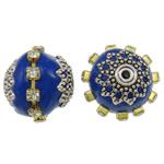 Indonesien Perlen, mit Messing & Zinklegierung, Trommel, plattiert, mit Strass, blau, 17x16mm, Bohrung:ca. 1mm, 100PCs/Tasche, verkauft von Tasche