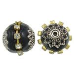 Indonesien Perlen, mit Messing & Zinklegierung, Trommel, plattiert, mit Strass, schwarz, 16x15mm, Bohrung:ca. 1mm, 100PCs/Tasche, verkauft von Tasche