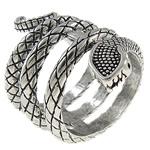 Zinklegierung Fingerring , Schlange, antik silberfarben plattiert, frei von Nickel, Blei & Kadmium, 21x33x19.50mm, Bohrung:ca. 16mm, Größe:5.5, verkauft von PC