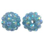 Harz Strass Perlen, Trommel, AB Farben platiniert, 14x12mm, Bohrung:ca. 2mm, 10PCs/Tasche, verkauft von Tasche