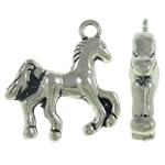 Zinklegierung Tier Anhänger, Pferd, antik silberfarben plattiert, frei von Nickel, Blei & Kadmium, 21x22x5mm, Bohrung:ca. 2mm, ca. 250PCs/kg, verkauft von kg