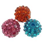 Harz Strass Perlen, rund, gemischte Farben, 12mm, Bohrung:ca. 2mm, 100PCs/Tasche, verkauft von Tasche