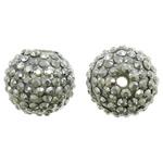 Harz Strass Perlen, rund, silberfarben plattiert, 15mm, Bohrung:ca. 2.5mm, 10PCs/Tasche, verkauft von Tasche