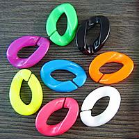 Acryl Verbindungsring, flachoval, gemischte Farben, 30x22mm, 500PCs/Tasche, verkauft von Tasche