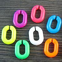 Acryl Verbindungsring, flachoval, gemischte Farben, 20x14mm, 1000PCs/Tasche, verkauft von Tasche