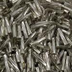 Bugles Seed Perlen drehen, Glas-Rocailles, Rohr, Silbereinzug, Twist, 2x9mm, Bohrung:ca. 1mm, ca. 1500PCs/Tasche, verkauft von Tasche