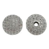 Befestigte Zirkonia Perlen, Messing, rund, platiniert, Micro pave Zirkonia, frei von Nickel, Blei & Kadmium, 12mm, Bohrung:ca. 2mm, 10PCs/Menge, verkauft von Menge