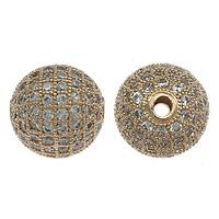 Befestigte Zirkonia Perlen, Messing, rund, echtes Rósegold plattiert, Micro pave Zirkonia, frei von Nickel, Blei & Kadmium, 10mm, Bohrung:ca. 1.8mm, 10PCs/Menge, verkauft von Menge