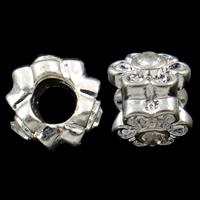 Zink Legierung Europa Perlen, Zinklegierung, Blume, ohne troll & mit Strass, frei von Nickel, Blei & Kadmium, 10x9mm, Bohrung:ca. 4.5mm, 10PCs/Tasche, verkauft von Tasche