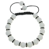 Glas Woven Ball Armbänder, mit Wachsschnur & Messing, mit Strass, weiß, 10mm, verkauft per 7.5 ZollInch Strang
