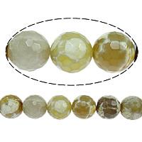 Natürliche Feuerachat Perlen, rund, facettierte, 8mm, Bohrung:ca. 1mm, Länge:ca. 16 ZollInch, 10SträngeStrang/Menge, ca. 51PCs/Strang, verkauft von Menge