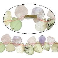 Knistern Quarz Perlen, Regenbogen Quarz, Klumpen, gemischte Farben, 17-23x19-28mm, Bohrung:ca. 1mm, Länge:ca. 15 ZollInch, 10SträngeStrang/Menge, ca. 38PCs/Strang, verkauft von Menge
