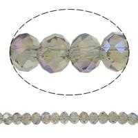 Rondell Kristallperlen, Kristall, AB Farben plattiert, AA grade crystal, hellgrau, 3x4mm, Bohrung:ca. 1mm, Länge:ca. 18 ZollInch, 10SträngeStrang/Tasche, ca. 140PCs/Strang, verkauft von Tasche