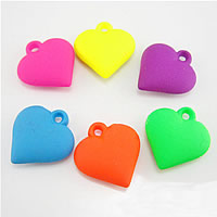 Acryl Anhänger, Herz, gemischte Farben, frei von Nickel, Blei & Kadmium, 25x23x8mm, Bohrung:ca. 1mm, 300PCs/Tasche, verkauft von Tasche