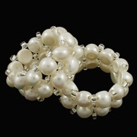 Cultured Freshwater Pearl Finger Ring, with Rhinestone, 2-strand, 6mm, Size:10, Sold By PC