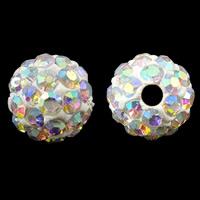 Strass Ton befestigte Perlen, rund, bunte Farbe plattiert, mit Strass, 8mm, Bohrung:ca. 1mm, 100PCs/Tasche, verkauft von Tasche