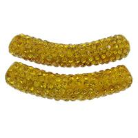 Strass Messing Perlen, Ton, mit Messing, Rohr, Platinfarbe platiniert, mit Strass, goldgelb, frei von Nickel, Blei & Kadmium, 10x48, Bohrung:ca. 4mm, 10PCs/Tasche, verkauft von Tasche