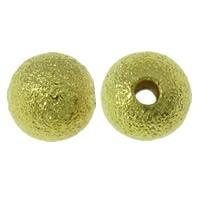 Messing Sternenstaub Perlen, rund, goldfarben plattiert, Falten, frei von Blei & Kadmium, 6mm, Bohrung:ca. 1.5mm, 2000PCs/Tasche, verkauft von Tasche