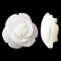 Natürliche weiße Muschelperlen, Blume, geschnitzt, halbgebohrt, 10x5mm, Bohrung:ca. 1mm, 10PCs/Tasche, verkauft von Tasche
