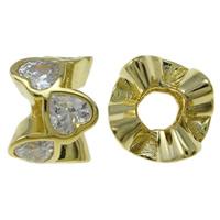 Kubischer Zirkonia Messing Perlen, goldfarben plattiert, mit einem Muster von Herzen & mit kubischem Zirkonia, frei von Nickel, Blei & Kadmium, 12x7.5mm, Bohrung:ca. 4.5mm, verkauft von PC