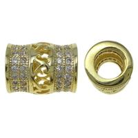Zirkonia Micro Pave Messing Europa Bead, Rohr, goldfarben plattiert, Micro pave Zirkonia & hohl, frei von Nickel, Blei & Kadmium, 8x10mm, Bohrung:ca. 4.5mm, verkauft von PC