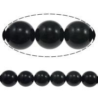 Schwarze Obsidian Perlen, Schwarzer Obsidian, rund, natürlich, 12mm, Bohrung:ca. 1.2mm, Länge:ca. 15 ZollInch, 5SträngeStrang/Menge, ca. 32PCs/Strang, verkauft von Menge