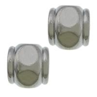 Edelstahl-Perlen mit großem Loch, 304 Edelstahl, Trommel, großes Loch, originale Farbe, 11x12x12mm, Bohrung:ca. 6mm, 100PCs/Menge, verkauft von Menge