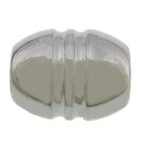 Edelstahl-Perlen mit großem Loch, 304 Edelstahl, oval, großes Loch, originale Farbe, 15x12mm, Bohrung:ca. 6mm, 100PCs/Menge, verkauft von Menge