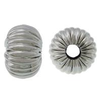 Edelstahlwell Beads, 304 Edelstahl, Rondell, gewellt, originale Farbe, 8x12mm, Bohrung:ca. 4mm, 100PCs/Menge, verkauft von Menge