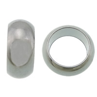 Edelstahl-Perlen mit großem Loch, 304 Edelstahl, Rondell, großes Loch, originale Farbe, 4x9mm, Bohrung:ca. 6.5mm, 1000PCs/Menge, verkauft von Menge