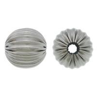 Edelstahlwell Beads, 304 Edelstahl, rund, gewellt, originale Farbe, 8mm, Bohrung:ca. 2mm, 100PCs/Menge, verkauft von Menge