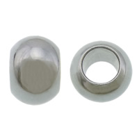 Edelstahl-Perlen mit großem Loch, 304 Edelstahl, Trommel, großes Loch, originale Farbe, 5.50x8mm, Bohrung:ca. 4mm, 500PCs/Menge, verkauft von Menge