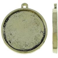 Zink-Legierung Cabochon Weissgold, Zinklegierung, flache Runde, antike Goldfarbe plattiert, frei von Nickel, Blei & Kadmium, 27.50x31x2.50mm, Bohrung:ca. 2mm, ca. 185PCs/kg, verkauft von kg