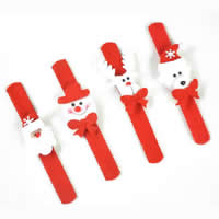 Velveteen Christmas Slap Bracelet, with Plastic, mixed, 50-60mm, Sold By PC