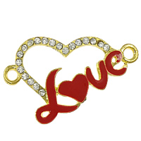 Rhinestone Zinc Alloy Connector, Heart, plated, Customized & enamel & with rhinestone & 1/1 loop, more colors for choice, cadmium free, 41x25x3mm, Hole:Approx 3mm, Sold By PC