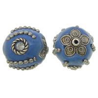 Indonesien Perlen, mit Eisenkette & Zinklegierung, antik silberfarben plattiert, mit Strass, blau, frei von Nickel, Blei & Kadmium, 17x18x17mm, Bohrung:ca. 1mm, 100PCs/Tasche, verkauft von Tasche