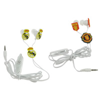 Soft PVC Wired Earphone, with Rubber & Stainless Steel, 2014 Brazil World Cup gift, more colors for choice, 18x18x23mm, 24x24x7mm, 38x11x8mm, 3.5mm, Sold Per Approx 44 Inch Strand