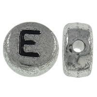 Alphabet Acryl Perlen, flache Runde, antik silberfarben plattiert, mit Brief Muster, 7x3.5mm, Bohrung:ca. 1mm, ca. 3600PCs/Tasche, verkauft von Tasche