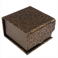 Cardboard Ring Box, with Velveteen, Square, brown, 55x55x35mm, Sold By PC