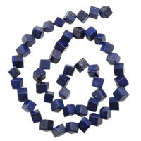 Natural Lapis Lazuli Beads, Cube, 6x6x6mm, Hole:Approx 1mm, Approx 65PCs/Strand, Sold Per Approx 15.5 Inch Strand